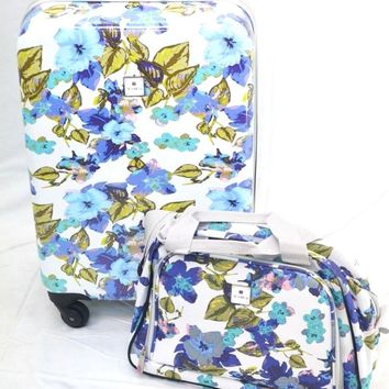 $340 NEW TAG Pop Art 2 Piece Carry On Hard Luggage Expandable Suitcase Floral