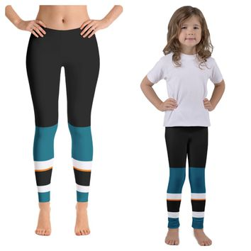 San Jose Sharks Colored Hockey Leggings ADULT AND KIDS SIZES