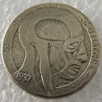 Hobo Nickel 1937-D 3-Legged Buffalo Nickel Rare Creative Skin Beauty