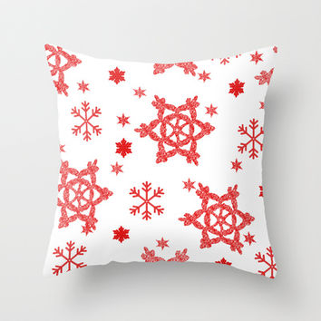Red Snowflake Throw Pillow by KayJay