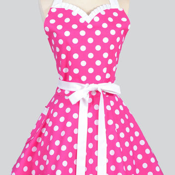 Sweetheart Retro Apron - Retro Sexy Womens Apron Hot Pink and White Polka Dot Cute Full Kitchen Apron