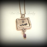 Mothers Day Gift - Hand Stamped Simple Dainty Pewter Birthstone necklace - Small pendant necklace - Pewter Necklace