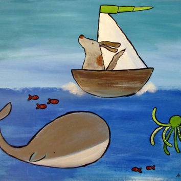 Adventure Awaits Original Kids Wall Art, Dog in Sailboat Children's Painting, Ocean Nursery Decor