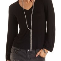 Cowl Back Long Sleeve Tee by Charlotte Russe