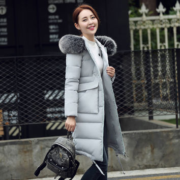 CP Brand Women Down Jacket 2016 Winter Solid Long Hooded Down Coats with Fur Collar Slim Causal Duck Down Parka Female Plus Size
