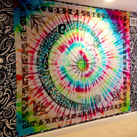 Handmade Large Moon and Crystal Tie-Dye Tapestry