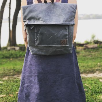 The Wanderer - Waxed Canvas & Leather Backpack