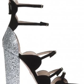 Boutique 1 - GIAMBATTISTA VALLI - Black Glitter Heel Sandal | Boutique1.com