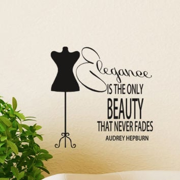 Audrey hepburn quote Decal wall sticker Elegance by HouseHoldWords