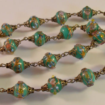 Wedding Cake Necklace, Venetian Glass Bead, Teal Green, Art Deco