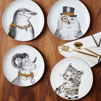 Gilded Dapper Animal Plates