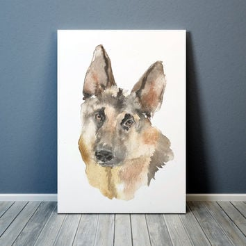 Watercolor dog poster German shepherd print Cute nursery art ACW72