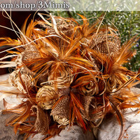 Feather Wedding Bouquet- Shabby Chic Garden Wedding Bouquet- OOAK Sweet Grass Bouquet