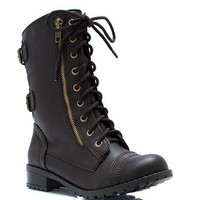 Double Buckle Back Combat Boots - GoJane.com