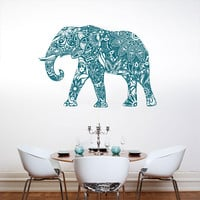 Wall Decal Vinyl Sticker Decals Art Decor Design Mural Ganesh Om Elephant Tatoo Mandala Tribal Buddha Karma India Bedroom Dorm (r310)