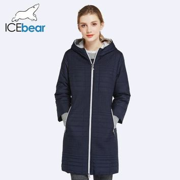 LMFYV3 ICEbear 2017 Spring Autumn Long Cotton Women's Coats With Hood Fashion Ladies Padded Jacket Parkas For Women 17G292D