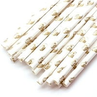 B20 Paper Straw. Skull Bone. Metallic Gold. White