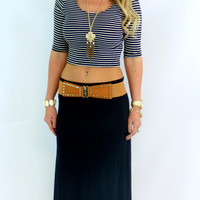 Striped 3/4 Crop Top