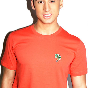 Palm Tree Patch Crop Tee-Coral