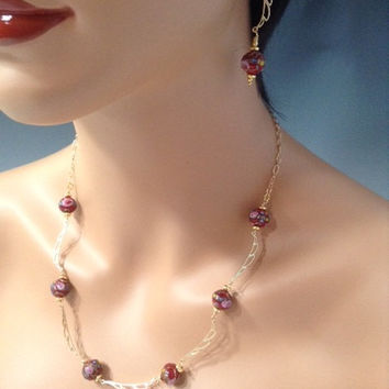 Asia , necklace set, Gold Fill, lampwork handpainted glass beads, Vermeil, Lever back ear wires, Jewelry set