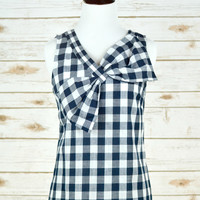 Gingham and Bows Tank - Navy/White