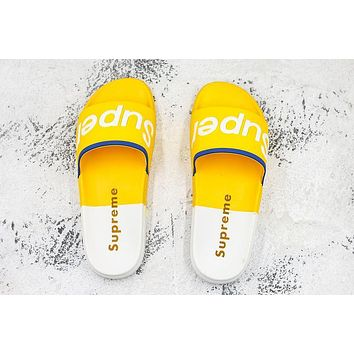 Supreme Suprize Design Sandals White Yellow Black Slides Slippers