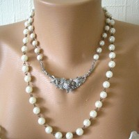 Marcasite Pearl Necklace Vintage Bridal Wedding Upcycled Jewelry Reversible Backdrop