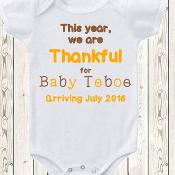 Custom Thanksgiving Pregnancy Announcement Idea Thanksgiving Onesuit ® brand bodysuit or shirt fall pregnancy reveal we are thankful for