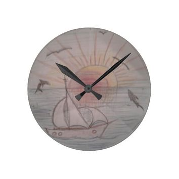 Fun sun blue round clock