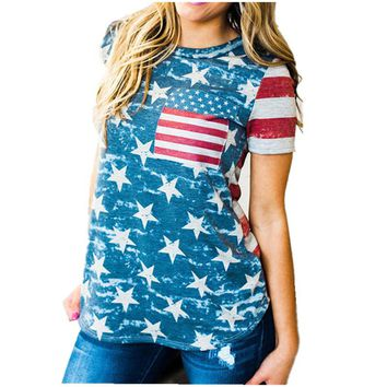 Casual O-Neck Sleeveless Vest T shirt Top Print Top American Flag Printed Shirt Casual Clothes
