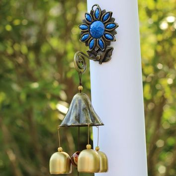 post mount Wind chimes Outdoor Decor  3 Bells or  6 Bells  post type wind chime