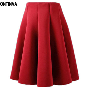 Knee Length Skirt Elegant High Waist Pleated Skirt 2015 New Arrival European Apparel Green Red Skirts Plus Size Skort