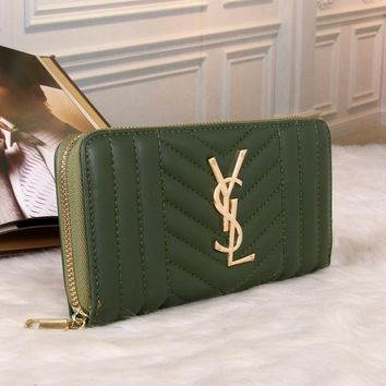 Best Deal Online YSL Yves Saint laurent Womens Wallet Faux Leather RFID Blocking Purse Credit Card Clutch 1714