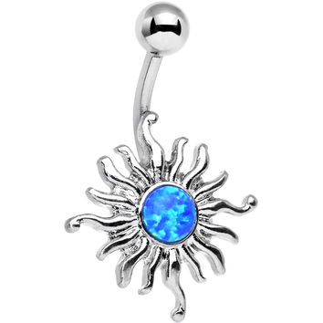 Blue Synthetic Opal Tribal Shining Sun Belly Ring