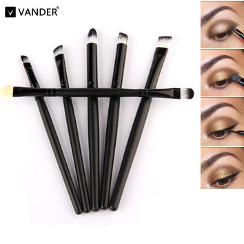 Black Professional Mini 6 Pcs Makeup Brush Set Wood Handle Make Up Cosmetic Brushes Sets Powder Face Pinceis Styling Tools Kits