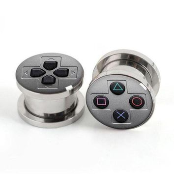 ac ICIKO2Q Pair Of Stainless steel Game Console plugs screw fit ear plug gauges flesh tunnel ear expander SSP001