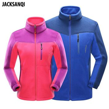 JACKSANQI Men Women's Autumn Winter Softshell Fleece Jackets Outdoor Sports Thermal Coats Hiking Ski Trekking Male Jacket RA107