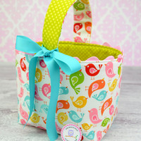 NEW Easter Basket Fabric Storage Container Bin-  Hello Birds White Hello Sunshine by Lori Whitlock Riley Blake
