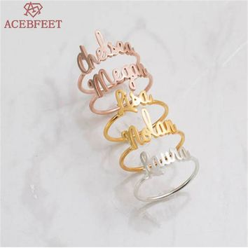 Rose Gold Color Adjustable Ring Women Wedding Bands Stainless Steel Personalized Custom Name Rings for Ladies Jewelry Customize
