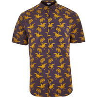 River Island MensBrown Japanese bird print shirt