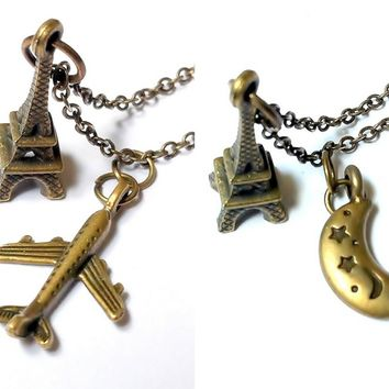 Over Paris: Eiffel Tower with airplane or moon charm necklace