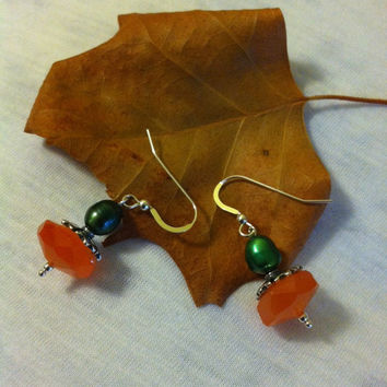 Pumpkin Earrings Orange Carnelian and Green Pearl Fall Pumpkin Theme Earrings Hand Made Sterling Silver Autumn Jewelry Cute Gift For Her