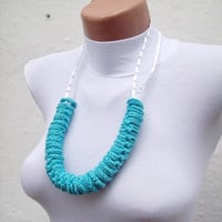 Hand crochet Lariat Scarf Blue Turquoise Lariat Scarf Long Necklace Holiday Accessories Spring Celebrations