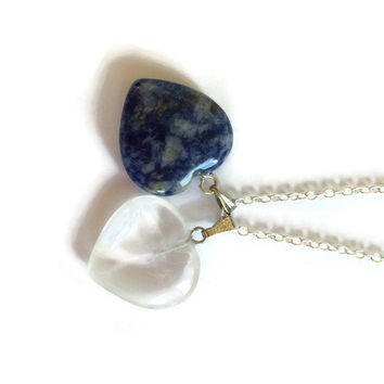 Two Hearts Necklace, Gemstone Necklace, Sodalite Necklace, Mothers Necklace, Couples Necklace, Heart Jewelry, Wife Gift, Blue Necklace