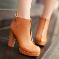 Buckle Platform Ankle Boots High Heels Thick Heeled Shoes Woman 3287 3287