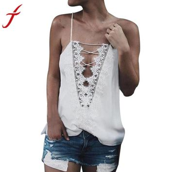 2017 Hot Summer Camis Women Sexy backless Tops Lace Sleeveless Criss Cross Tank Top black/white camis tops blusa