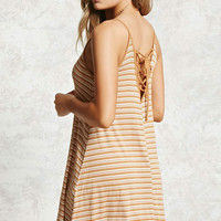 Lace-Up Ribbed Cami Dress