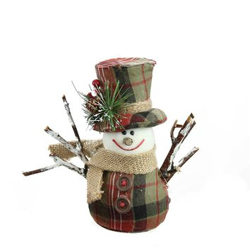 "6"" Green  Brown and Red Plaid Snowman with Top Hat and Scarf Table Top Christmas Figure"