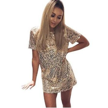 New Hot Sequins Gold Dress Summer Women Sexy Short T Shirt Dress Evening Party Elegant Club Dresses 2019