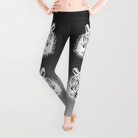 Silver Geometric Tiger Leggings by Chobopop